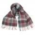 Шерстяной шарф в клетку в серых и красных тонах #520 JOHN HANLY