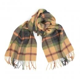 Клетчатый шарф из шерсти в песочных и зеленых тонах #535 JOHN HANLY