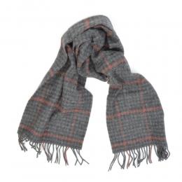 Серый шарф в тонкую красную клетку JOHN HANLY #574