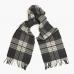 Серый клетчатый шарф из шерсти и кашемира JOHN HANLY #8017