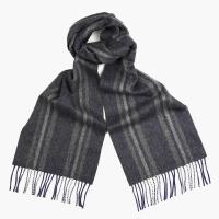 Серый шарф в полоску из шерсти и кашемира JOHN HANLY #8004