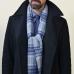 Шарф в в синих и серых тонах из шерсти и кашемира JOHN HANLY #8030