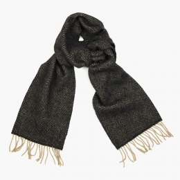 Темно-серый в ёлочку шарф из шерсти и кашемира JOHN HANLY #2410