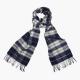 Синий клетчатый шарф из шерсти и кашемира JOHN HANLY #8032