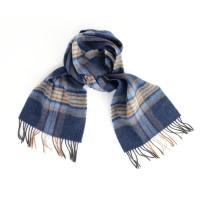 Шерстяной шарф в синих и коричневых тонах JOHN HANLY #1974