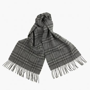 Cерый клетчатый шарф JOHN HANLY из шерсти #282