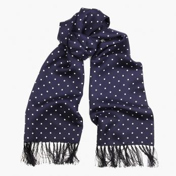 Синий шелковый шарф-кашне в горошек MICHELSONS