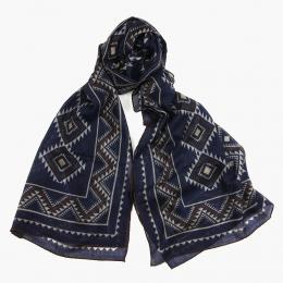 Тонкий шерстяной синий шарф с этническим орнаментом PAOLO ALBIZZATI