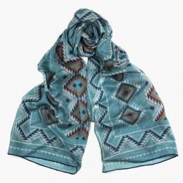 Тонкий шерстяной бирюзовый шарф с этническим орнаментом PAOLO ALBIZZATI