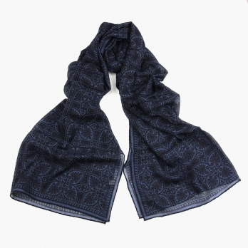 Тонкий синий шерстяной шарф с растительным орнаментом PAOLO ALBIZZATI