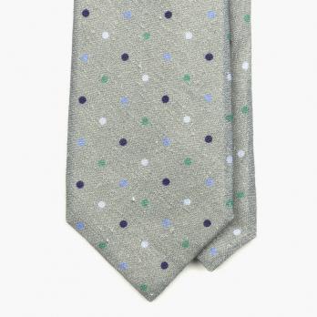 Серый льняной галстук в цветной горошек STEFANO CAU
