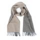 Двухсторонний серо-бежевый кашемировый шарф VARSUTIE