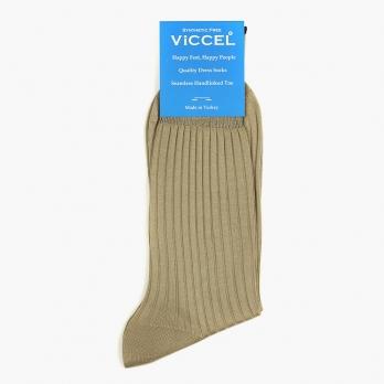 Бежевые хлопковые носки в рубчик VICCEL