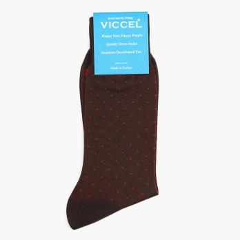 Бордово-коричневые хлопковые носки в горошек VICCEL