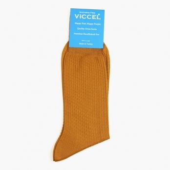 Желтые хлопковые текстурные носки VICCEL