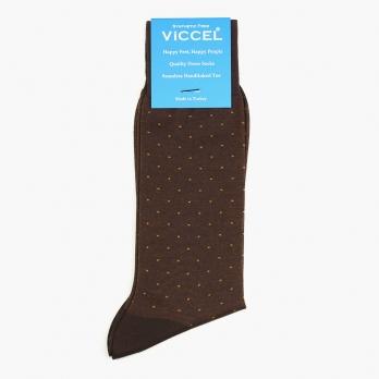 Коричневые хлопковые носки в горошек VICCEL
