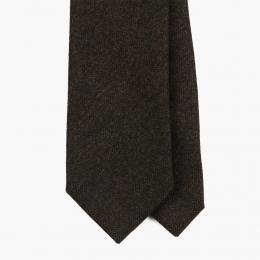 Коричневый шерстяной галстук в елочку FOUR-IN-HAND