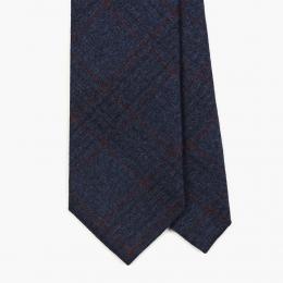 Синий галстук в тонкую красную клетку FOUR-IN-HAND