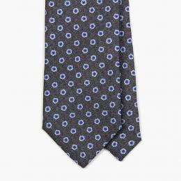 Серый галстук с синим цветочным рисунком FOUR-IN-HAND