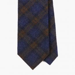 Клетчатый галстук в синих и коричневых тонах FOUR-IN-HAND