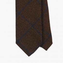 Коричневый галстук из шерсти, льна и шёлка в синюю клетку FOUR-IN-HAND