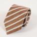 Бежевый галстук в полоску из смеси льна и шёлка FOUR-IN-HAND