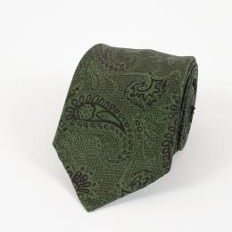 Тёмно-зелёный шелковый галстук с крупным узором пейсли FOUR-IN-HAND