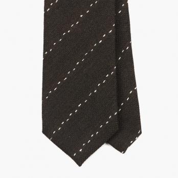 Коричневый галстук в пунктирную полоску FOUR-IN-HAND