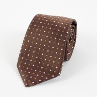 Brown silk green and white small polka dot tie FOUR-IN-HAND