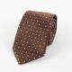 Коричневый шёлковый галстук в белую и салатовую крапинку FOUR-IN-HAND