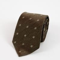 Коричневый шёлковый галстук с цветочным узором FOUR-IN-HAND