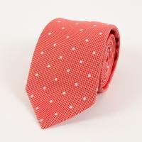 Red polka dot cotton silk tie FOUR-IN-HAND