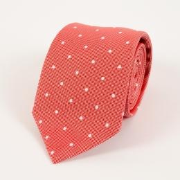 Красный галстук в горошек из смеси хлопка и шёлка FOUR-IN-HAND