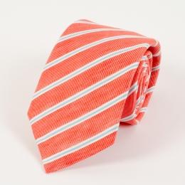 Красный галстук в полоску из смеси льна и шёлка FOUR-IN-HAND