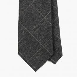 "Серый галстук в ""клетку мелом"" FOUR-IN-HAND"