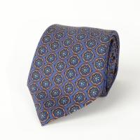 Синий шелковый галстук с узором медальон FOUR-IN-HAND