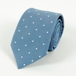 Синий галстук в горошек из смеси хлопка и шёлка FOUR-IN-HAND
