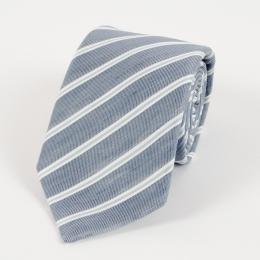 Синий галстук в полоску из смеси льна и шёлка FOUR-IN-HAND