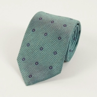 Blue floral pattern silk tie FOUR-IN-HAND