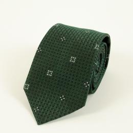 Тёмно-зелёный жаккардовый шелковый галстук с узором фуляр FOUR-IN-HAND