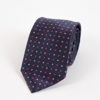 Navy silk blue and red small polka dot tie FOUR-IN-HAND