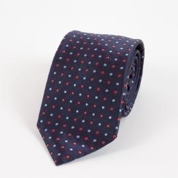 Тёмно-синий шёлковый галстук в красную и голубую крапинку FOUR-IN-HAND