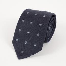 Тёмно-синий шёлковый галстук с цветочным узором FOUR-IN-HAND