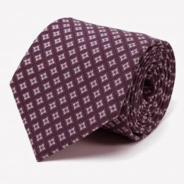 Бордово-сиреневый шелковый галстук с узором фуляр FUMAGALLI 1891