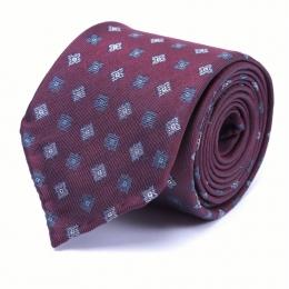 Бордовый шелковый галстук с узором фуляр FUMAGALLI 1891