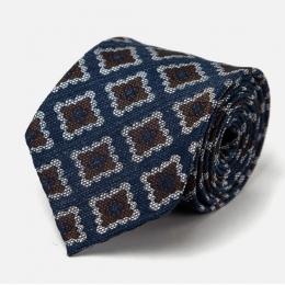 Сине-коричневый шелковый галстук с крупным узором фуляр FUMAGALLI 1891