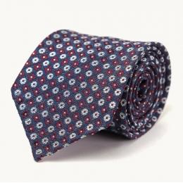 Синий шелковый галстук в мелкий цветочек FUMAGALLI 1891