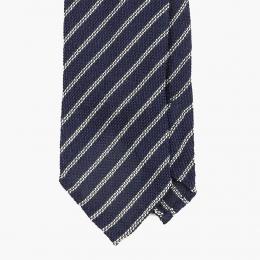 Темно-синий галстук в полоску из шелка-гренадина SERA FINE SILK
