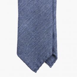 Голубой галстук из мягкой шерсти в ёлочку FUMAGALLI 1891