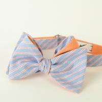 Blue Orange Striped Cotton Bow-Tie Inzhener Garin